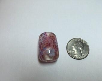 Lampwork Bead Pink Flower Focal Bead Encased