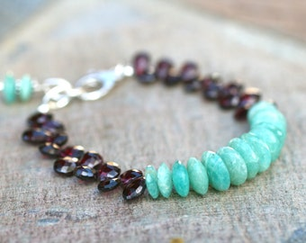 Amazonite, Garnet Gemstone Statement Bracelet, January Birthstone Jewelry, Amazonite Gemstone, Aqua Blue and Dark Red Bracelet