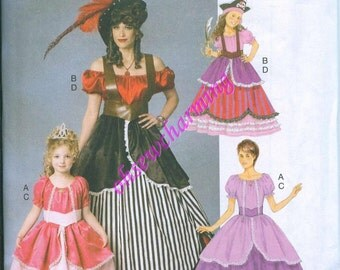 Butterick 6113 Costume Sewing Pattern Womens Pirate Wench Princess Size S-M-L-XL Dress and Belt
