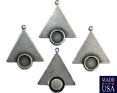 1 Loop Sterling Silver Ox Triangle Drops Charms with 7mm Setting (6) mtl066K
