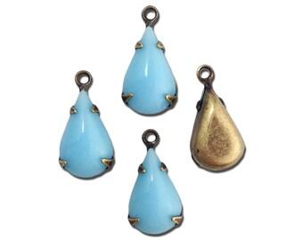 Opaque Light Blue Glass Teardrop 1 Loop Brass Ox Setting 13x8 (4) par016BB