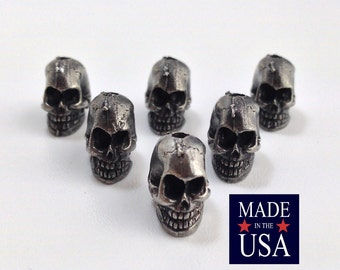 Silver Plated Pewter Skull Beads 9x7mm (6) gyb001C