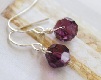 Grape candy - amethyst purple faceted crystal rounds earrings