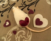 I -heart- Rats Plushie - White with Plum Heart