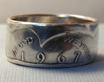 Silver coin ring Kennedy half dollar ring unique gift for coin collector you pick size date 1967