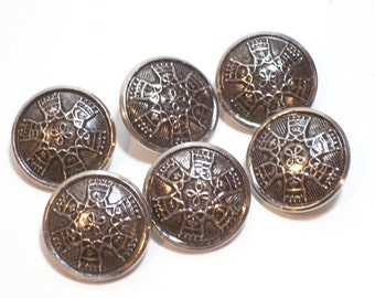 Silver Buttons, Silvertone Metal Buttons 7/8 inch diameter x 20 pieces, Filigree Design