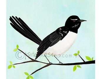Willie Wagtail on Branch ART PRINT Australian Birds