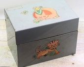 Vintage Metal Recipe Box Elephant Lion Cat File Box Desk Organizer