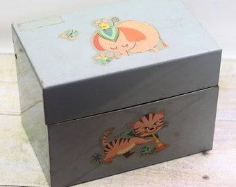 Vintage Metal Recipe Box Elephant Lion Cat File Box Desk Organizer