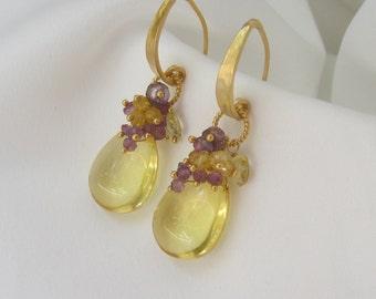 Yellow Earrings - Everyday Jewelry -  Wedding Jewelry - Gold Earrings - Statement Earrings