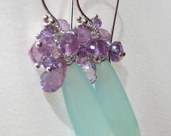 Aqua Blue Earrings - Chalcedony Earrings - Amethyst Earrings -February's Birthstone