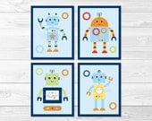 Cute Robot Nursery Wall A...