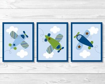 Cute Airplane Nursery Wall Art / Airplane Nursery Art / Blue & Green Airplanes / Baby Boy Nursery / PRINTABLE Instant Download A415