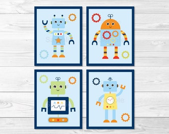Cute Robot Nursery Wall Art / Robot Nursery Wall Art / Baby Bots Nursery Wall Art / Robot Nursery Theme / PRINTABLE Instant Download