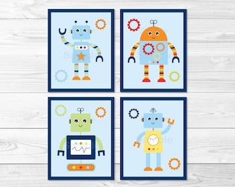 Cute Robot Nursery Wall Art / Robot Nursery Wall Art / Baby Bots Nursery Wall Art / Robot Nursery Theme / PRINTABLE Instant Download A259