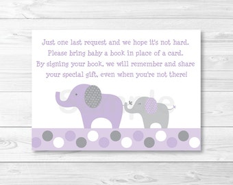 Purple Elephant Baby Shower Book Request Cards INSTANT DOWNLOAD A409