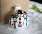Hand Painted Snowman Family Ornament