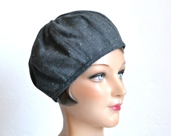 Women's Beret in Vintage Gray Wool - Made to Order