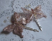Pink Butterfly Hairpins Set of Two