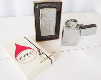 Vintage Zippo Lighters in Box - Slim -1963 and 1972 - Flatbottom Plaid and Pinstripe, Stainless