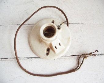 Vintage Porcelain Light Socket Fixture - Paulding - Great for Upcycling
