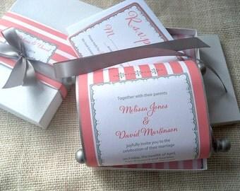 Elegant wedding invitation suite, coral and silver stripes scroll, weddings, invitations 25