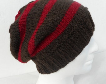 KNITTING PATTERN/CAMPUS Mans Striped Slouch Beanie Knitting Pattern/Easy Striped Hat Pattern/Knit Straight/Easy Slouch Hat