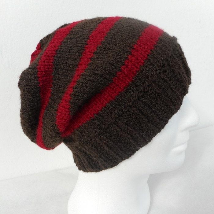 Striped Beanie Knitting Pattern : KNITTING PATTERN/CAMPUS Mans Striped Slouch Beanie Knitting