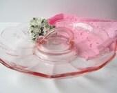 Vintage Pink Depression Glass Handled Server