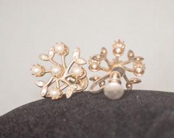 Dainty Pearl & Crystal Snowflake Screwback Earrings