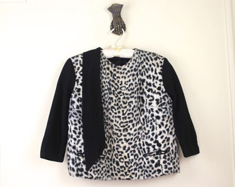 vintage 1950s Faux Leopard Fur and Black Wool Sweater with Ascot - size medium