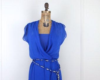 1970s cobalt blue grecian maxi dress - semi sheer, faux wrap, belted, goddess, khaleesi, vintage 70s -  size small