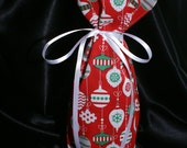 Holiday fabric reusable gift cozy bottle bags