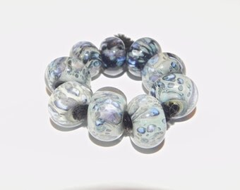 Hand Made Borosilicate Ten Beads Set Pearl Blues, LIght Blues and Lavender by Misty Creek Studio Artist Terry Sieber
