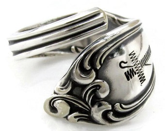 Wrapped Spoon RIng Choose Your Size Cross and Crosier Old South