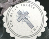 25 Baptism Favor Tags - Christening Favor Tags - Communion Favor Tags - Personalized - Silver - Cross - Scallop Border