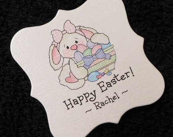 20 Personalized Easter Tags - Candy Tags - Bag Tags - Party Favor Tags - Labels - Bunny With Bowl of Eggs - 2 X 2 Square Tags