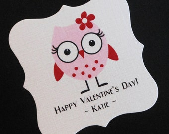 20 Personalized Valentine Tags - Candy Tags - Valentine's Day Tags - Party Favor Tags - Pink Owl - 2 X 2 Square Tags