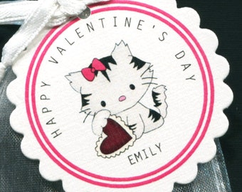 25 Personalized Valentine Favor Tags - Gift Tags - Valentine's Day Tags - Valentine Tags - Kitty Holding Red Heart