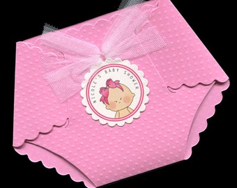 20 Personalized Baby Girl Baby Shower Invitations - Baby Girl Shower Invitations - Diaper Invitations - Baby Girl With Pink Bow