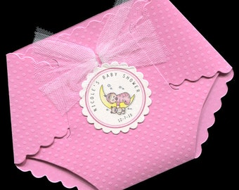 Baby Shower Invitations - Baby Girl Baby Shower Invitations - Baby Girl Shower Invitation - Diaper Invitations - Shower Invite - Pink - Baby