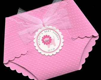 Baby Shower Invitations - Baby Girl Baby Shower Invitations - Baby Girl Shower Invitations - Diaper Invitations - Pink - Lion