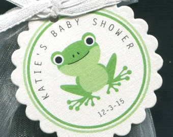 Baby Shower Favor Tags - Thank You Tags - Personalized - Frog - Gift Tag - Gender Nuetral - Green - Baby Boy - Baby Girl