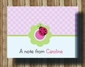 PERSONALIZED LADYBUG NOTECARDS for Girls/Boxed Set of 10 Folded Cards/Pink Polka Dot Ladybug Stationery/Ladybug Thank You Card/Ladybug Party