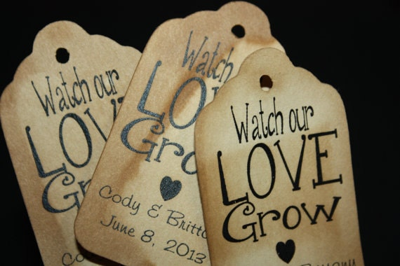 Watch our Love Grow Plain Font MEDIUM Personalized Wedding Favor Tag  choose your amount