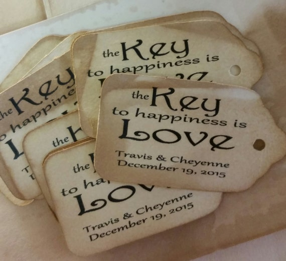 "The Key to Happiness is Love Choose your quantity SMALL 2"" Favor Tag"