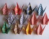 "12 Large Heavy Washi Cranes - 12 Designs, 6"" (15 cm) Japanese Heavy Washi Chiyogami, Origami Paper Cranes, Crane Bird, Handmade, Place Card"