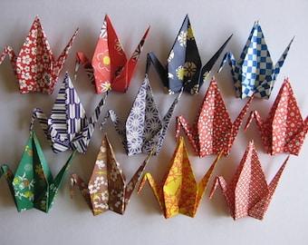 "12 Large Origami Cranes - 12 Designs, 6"" (15 cm) Japanese Heavy Washi Chiyogami, Origami Paper Cranes, Crane Bird, Chiyogami Crane, Handmade"