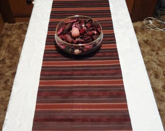 """TABLE RUNNER - Stripes in Burgundy, Rust, Green - Holiday - 75"""" x 15"""" - Item #TR319013"""