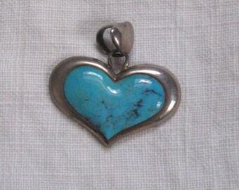 heart pendant .  turquoise heart . Turquoise Heart Pendant . Sterling Heart Pendant